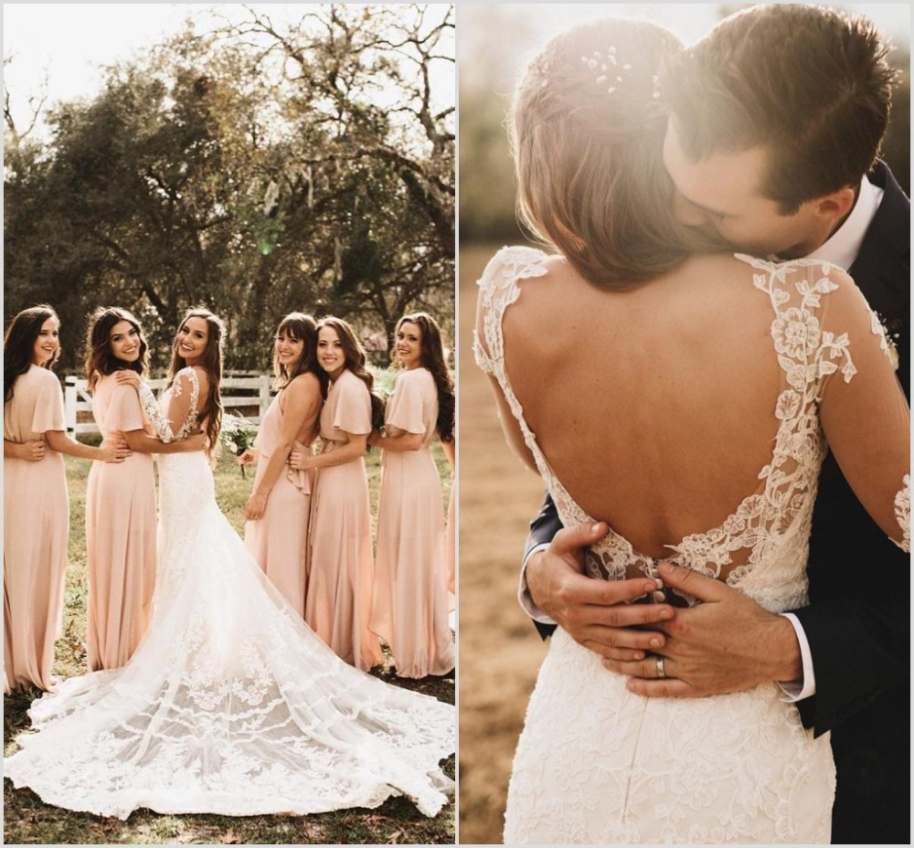 2019 Country Mermaid Wedding Dresses V Neck Long Sleeve Lace Appliques Bridal Gowns Backless Beach Bohemia Vestido