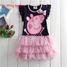 Cute Pepe Pigs children's dresses for girl dress up Cotton Dress 2017 New Kids clothes Dresses Spring Summer Dress Free Shipping