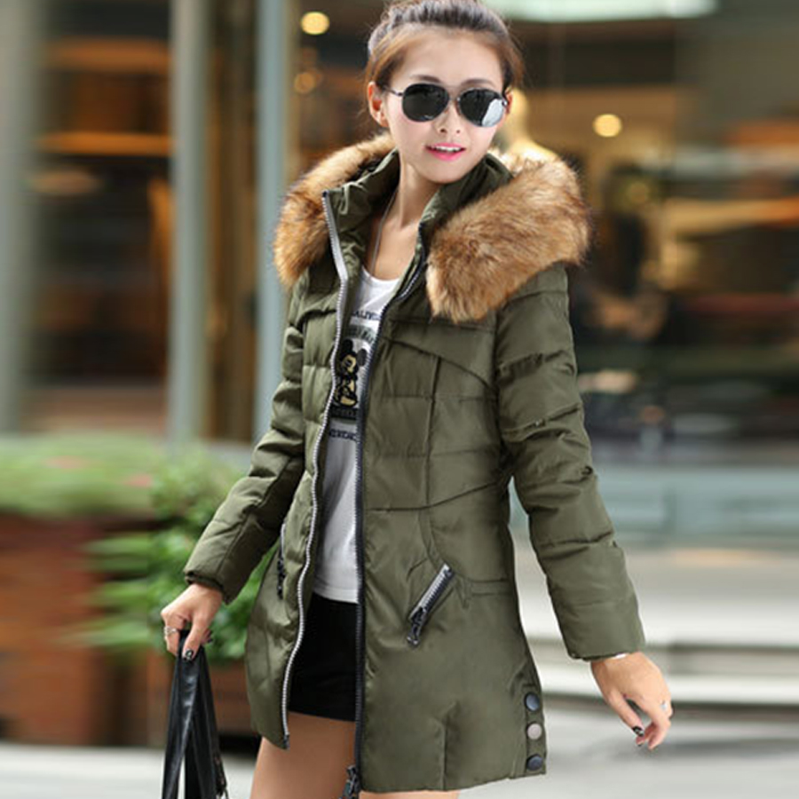 2016 Autumn &amp; Winter Women Parka Outerwear Duck Down Jacket With Large Fur Collar Plus Size M - XXXL Thickening Long CoatÎäåæäà è àêñåññóàðû<br><br>