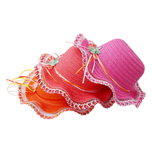 1PC Baby Girls Sun Hat Summer Lovely Fashion Straw Hat Beach Cap Toddlers Baby Girl's Summer Hats Straw Caps For 3-6Y DW893193