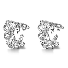 PATICO 1 Pcs Vintage Silver Rose Gold Ear Cuff Punk Small Flower Hollow Charm Clip Earrings Best Cheap Jewelry For Women Men
