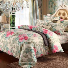 Home Textile Bedding Set 4pcs Colorful High Quality Flowers Duvet Cover Set Bed Sheet Pillowcase King/Queen/Twin Size BS77-1