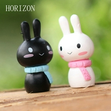 2 pcs/ Set kawaii Rabbit Cartoon Miniature Resin rabbit Garden Decor Ornament Pot Micro Landscape Bonsai DIY Dollhouse Fairy