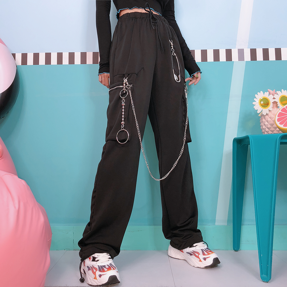 Big pin, hip hop, black men and women, BF wind broad leg pants, wide legs, straight tube, autumn winter trousers.