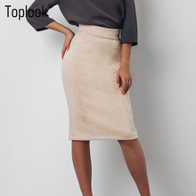 Toplook Split Vintage Suede Bodycon Skirt High Waist Women Knee Length Pencil Skirt Solid OL Office Elegant Skirts Womens 2017(China)