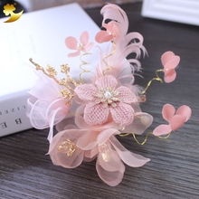XinYun Pink knit Feather wedding accessories handmade headdress hair Clip floral hair Pin hair ornaments Manufacturer 89376