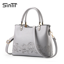 SINTIR 2017 Famous Brand Embroidery Flower Women Handbag Black Ladies Designer Shoulder Bag High Quality Leather Crossbody Bags(China)