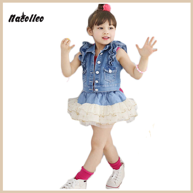 Hot New 2017 Summer Children Clothing Set Baby Toddler Girls Boutique Outfits Denim Short Plain Tops and Tutu Skirt Suit Clothes<br><br>Aliexpress