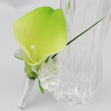 4 pcs white flower Light green Calla Boutonniere Groom Groomsman Best man Flower Wedding accessories Home Party Bride Suit Decor