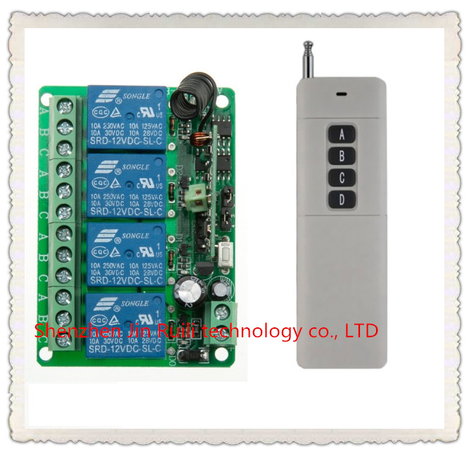 Farthest distance 3000m RF Wireless Remote Controller Relay Switch System DC12V 4CH Receiver&amp; Transmitter Toggle Momentary<br><br>Aliexpress