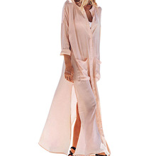 New Brand Summer Light Pink Elegant Women Dress Blouse Sexy Women V Neck Long Beach Maxi Dress Long Sleeve Split Dress