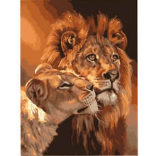 Frameless Lion Kings DIY Coloring Oil Painting By Numbers Kits Drawing Paint On Canvas For Wall Art Picture For living room(China)