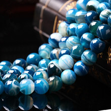 Aaa Blue Stripe Onyx Agate  Natural Stone Beads For Jewelry Making Diy Bracelet Necklace 4mm 6mm 8mm 10mm 12mm Wholesale Strand