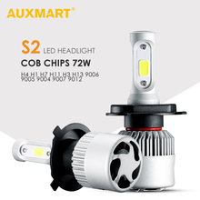 AUXMART 2pcs 3 Sides 9007 9004 H13 H4 LED Bulb Car Headlight 72W 6500K COB 2 Sides 9012 9005 9006 H1 Led H7 Bulb H3 H11 Fog Lamp(China)