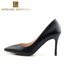 Black Women Shoes 8CM High Heel Women Pumps PU Leather Shoes Woman Designer Heel Party Shoes Sexy High Heels Footwear K-050(China)