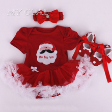 Fashion Christmas Infant Girl Rompers Dress Baby Girls Clothes Sets 3pcs Newborn Cotton Jumpsuit Clothes(China)