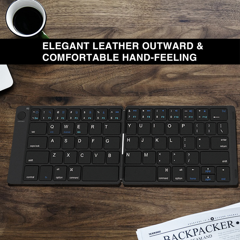[AVATTO] Rechargable Leather Portable Folding Bluetooth Keyboard BT Wireless Foldable Keypad for Android IOS Windows iPad Tablet
