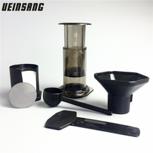 Portable Coffee Maker French Press Coffee Air Press Espresso Machine Reusable Stainless Steel Coffee Filter And 350 Filter Paper(China)