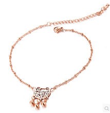 Longevity lock Anklet  Rose Gold Titanium Steel Chain Women Barefoot Sandals Anklet, 2014 Fashion Foot Chain Jewelry,N003