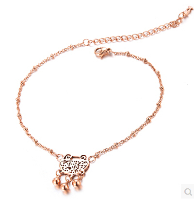 Longevity lock Anklet Rose Gold Titanium Steel Chain Women Barefoot Sandals Anklet, 2014 Fashion Foot Chain Jewelry,N003(China)