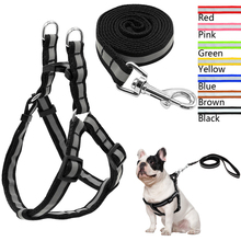 No Pull Reflective Nylon Dog Harness and Leash Set Step in Puppy Harnesses Vest and Walking Leads for Small Medium Dogs(China)