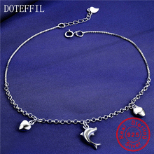 100% Sterling Silver Anklet Woman Charm Dolphin 925 Silver Fashion Anklet Luxury Brand Jewelry(China)