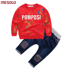 2017 brand new Boys clothing set kids sports suit children tracksuit long shirt + pants Cowboy sweatshirt casual clothes sets(China)
