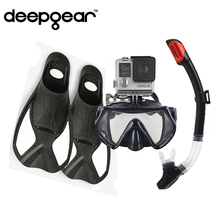 Profession snorkel fin diving set Camera scuba mask dry snorkel foot fins set Top snorkel and diving gears for adult swim & dive