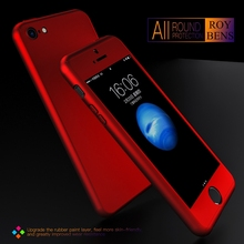 Luxury Slim Mat Red Metal Plating Cover For Apple iPhone 5 5S SE Hard PC 360 Degree Full Body Case + Free Glass Screen Protector(China)