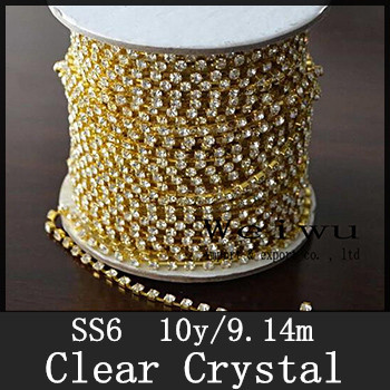 Hight Strass Chain 10 Yards Golden Base SS6 Sparse Clear Crystal Rhinestone Chain