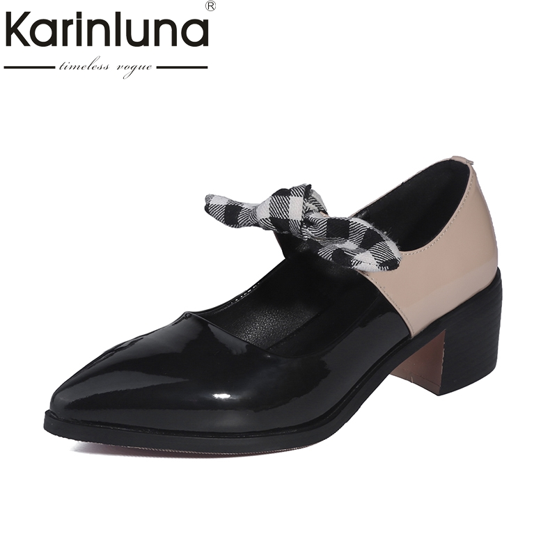 KARINLUNA Hot Sale Large Size 33-41 Genuine Leather Black Shoes Woman Shoes Butterfly Pointed Toe Heels Casual slip-on Pumps<br>