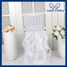 CH005G Popular cheap wedding curly willow white ruffled chair cover(China)