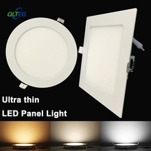 Ultra Thin LED Panel Downlight 3W 6W 9W 12W15W 18W Round/ Square LED Ceiling Recessed Light AC85-265V LED Panel Light bulb