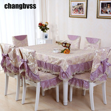 9pcs/set Large Size Table Cloth for Wedding Flower Pattern Dining Table Cover Lace Tablecloth Chair Covers Rectangle Tablecloths(China)