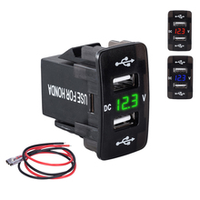 DC 12-24V Dual USB Port Car Charger Cigarette Lighter Socket Power Adapter with LED Digital Voltmeter Meter Monitor For Honda