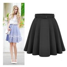 Womens Pleated skirt Casual Medium Knee-length Skirts Retro Stylish Female High Waist Ball Gown Skirts Femininas Vintage Women