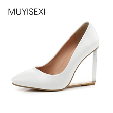 MUYISEXI Genuine Leather Transparent wedges women wedding shoes 6cm/9cm high heels wedges woman party shoes 33-43 RNS01A(China)