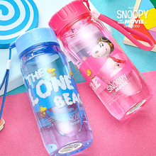 Snoopy plastic cups cartoon bottle portable sports bottle travel cup brief space cup
