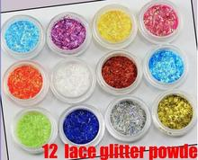 2018 12 Color lace glitter powder Nail Art Tool Kit Acrylic UV Dust gem Stamper(China)