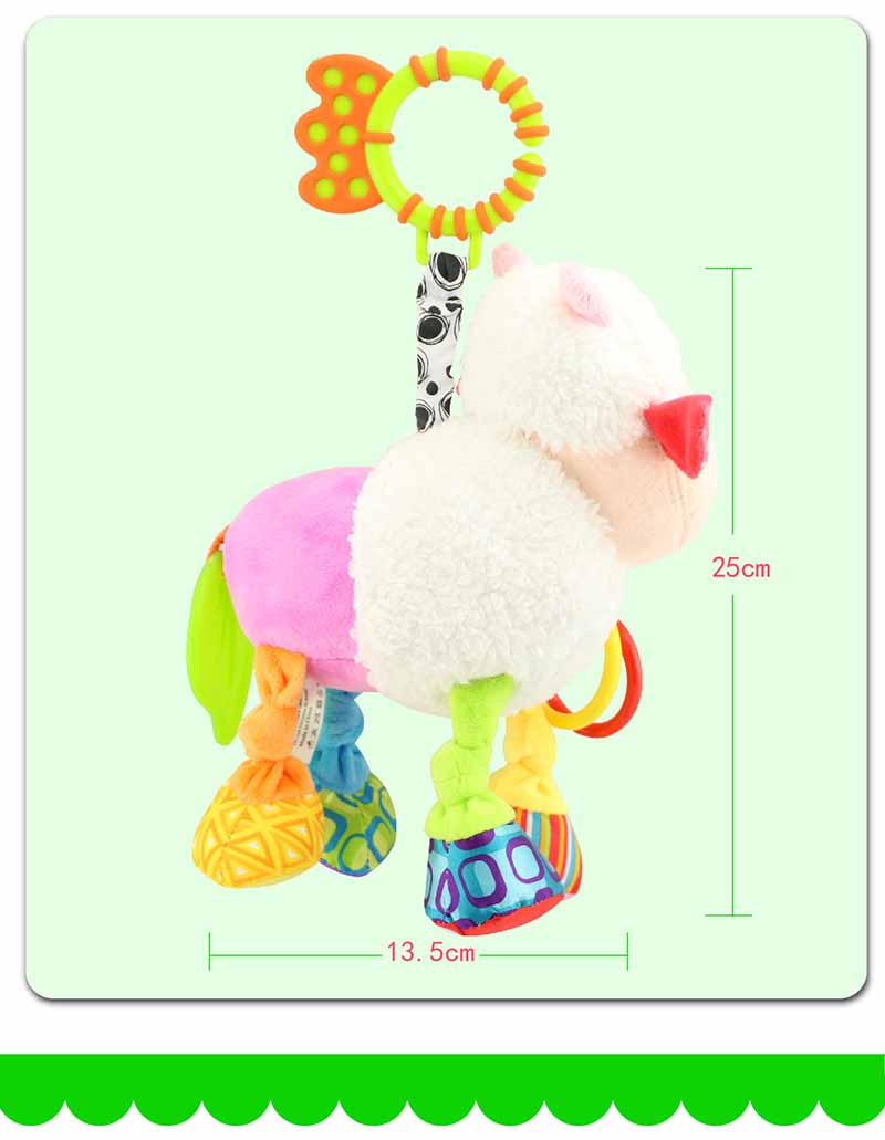 35*22CM Musical Cute Rattles Bed Crib Stroller Kids Stuffed Doll Vibrator Dog Hand Bell Shake RingToy With Teether D012 18