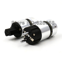 One pair New Viborg Rhodium Plated EUR Schuko & IEC Connector Power plug jack for Hifi Electrical Plug or Power cable
