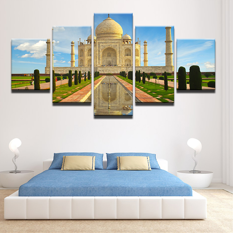 Modern-Abstract-5-Panel-Taj-Mahal-Reflection-Landscape-Picture-Painting-On-The-Canvas-For-Frames-Drop (1)