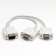 1 PC New High Quality 15 Pin to 2 VGA SVGA Monitor Dual Video Way Graphic LCD TFT Y Splitter Connector Cable Lead