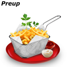 PREUP Mini Chef Foldable Fry Basket Steam Rinse Strain French Fries mesh Colander Strainer Net Kitchen Gadgets Cooking Tools