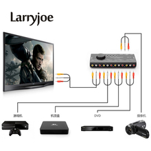 Larryjoe 4 in 1 Out AV RCA Switch Box AV Audio Video Signal Splitter 4 Way Selector with RCA Cable For Television DVD VCD TV