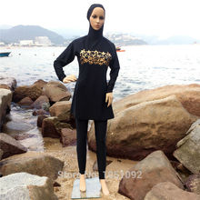 8XLCheap Muslima Abaya Swimwear Fashion Malaysia Muslim Costume Swiming Wear Women Modest Islamic Swimsuit Covered Suit DHL(China)