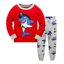 New Children Pajamas Set Kids Baby Girl Boys Cartoon Dolphin Casual Pijamas Kids long sleeve Pyjamas Sleepwear Nightgown 3-8Y(China)