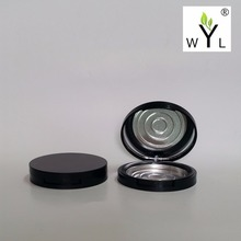 Empty Eyeshadow Powder Case with Palette Pans, Black round Cosmetic Compact Mirror Container Makeup Aluminum