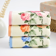 34*75cm Soft Cotton Face Flower Towel Bamboo Fiber Quick Dry Beautiful Home Hotel  Bathroom Towels Facecloth Household
