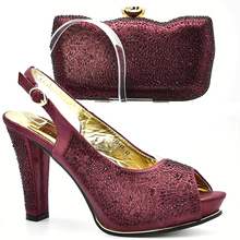 Wine Color Italian Shoe with Matching Bags Shoe and Bag Set for Party In Women Italian Matching Shoe and Bag Set with Rhinestone